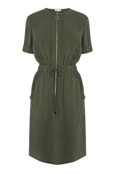 Warehouse, CASUAL UTILITY DRESS Khaki 0