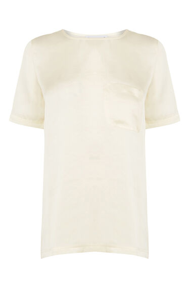 Warehouse, Satin Front Tee Cream 0