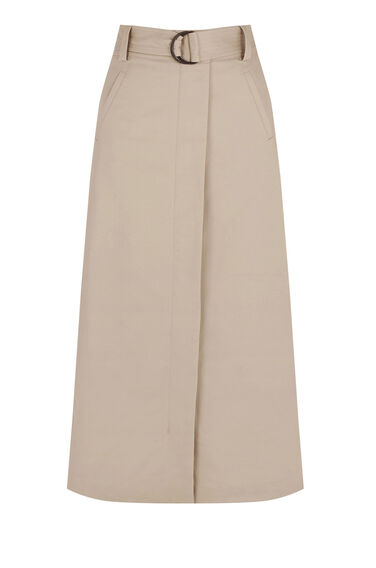 Warehouse, COMPACT COTTON MIDI SKIRT Stone 0