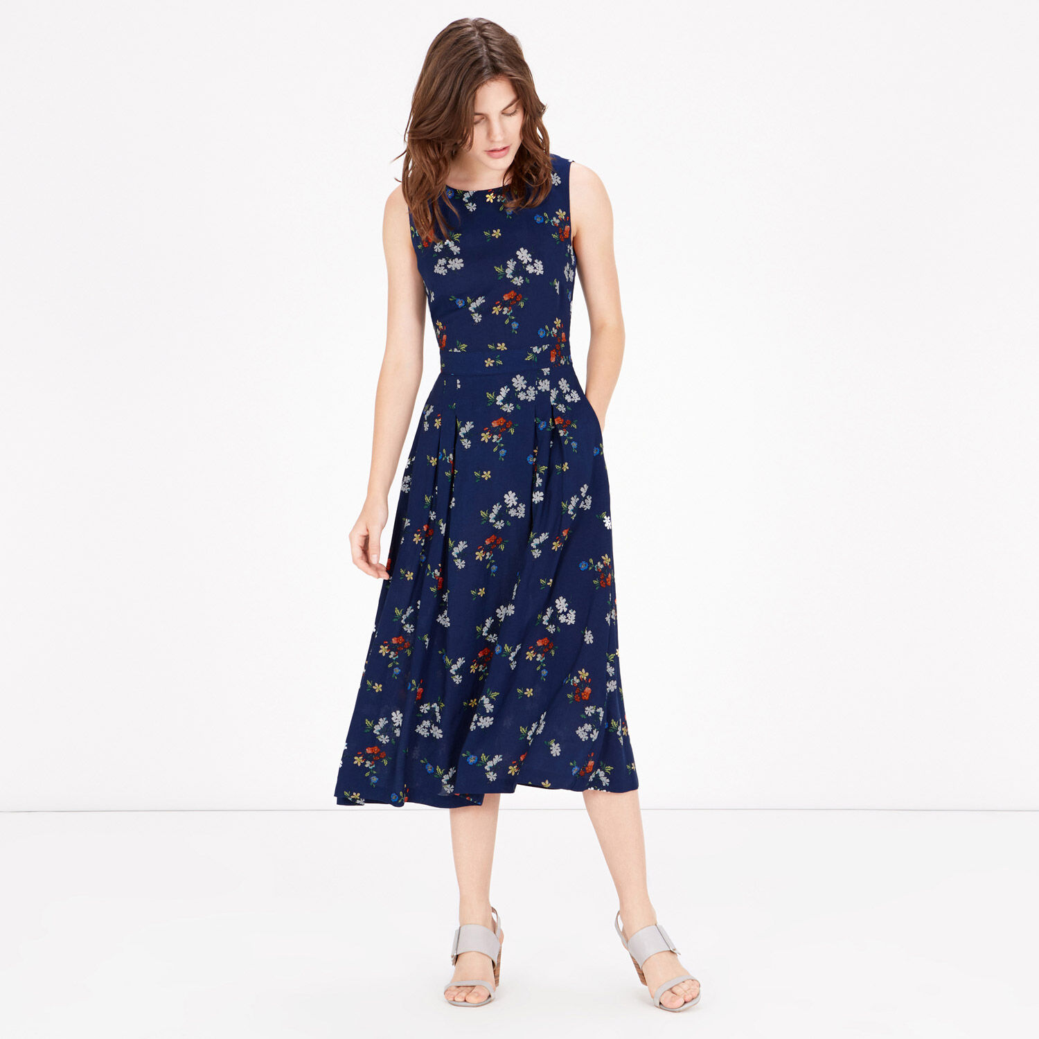 Warehouse, Spaced Floral Midi Dress Blue Pattern 1