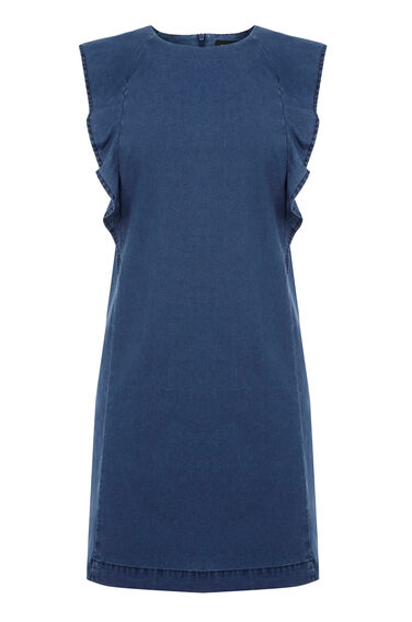 Warehouse, Ruffle Sleeve Shift Dress Mid Wash Denim 0