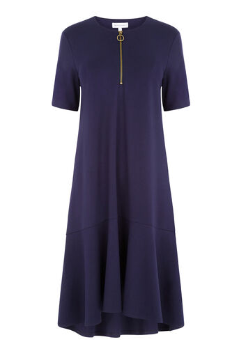 Warehouse, ZIP PULL DRESS Navy 0