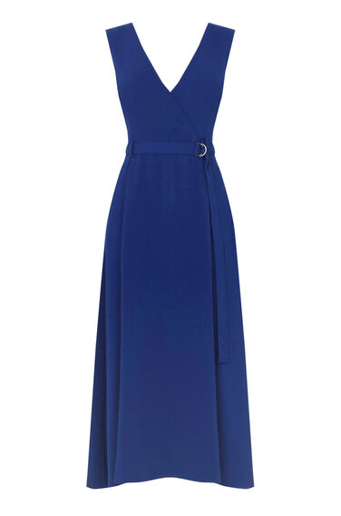 Warehouse, V NECK CREPE MIDI DRESS Bright Blue 0