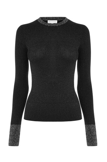 Warehouse, SPARKLE COLOUR BLOCK JUMPER Black 0