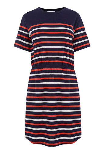 Warehouse, ENGINEERED STRIPE DRESS Navy 0