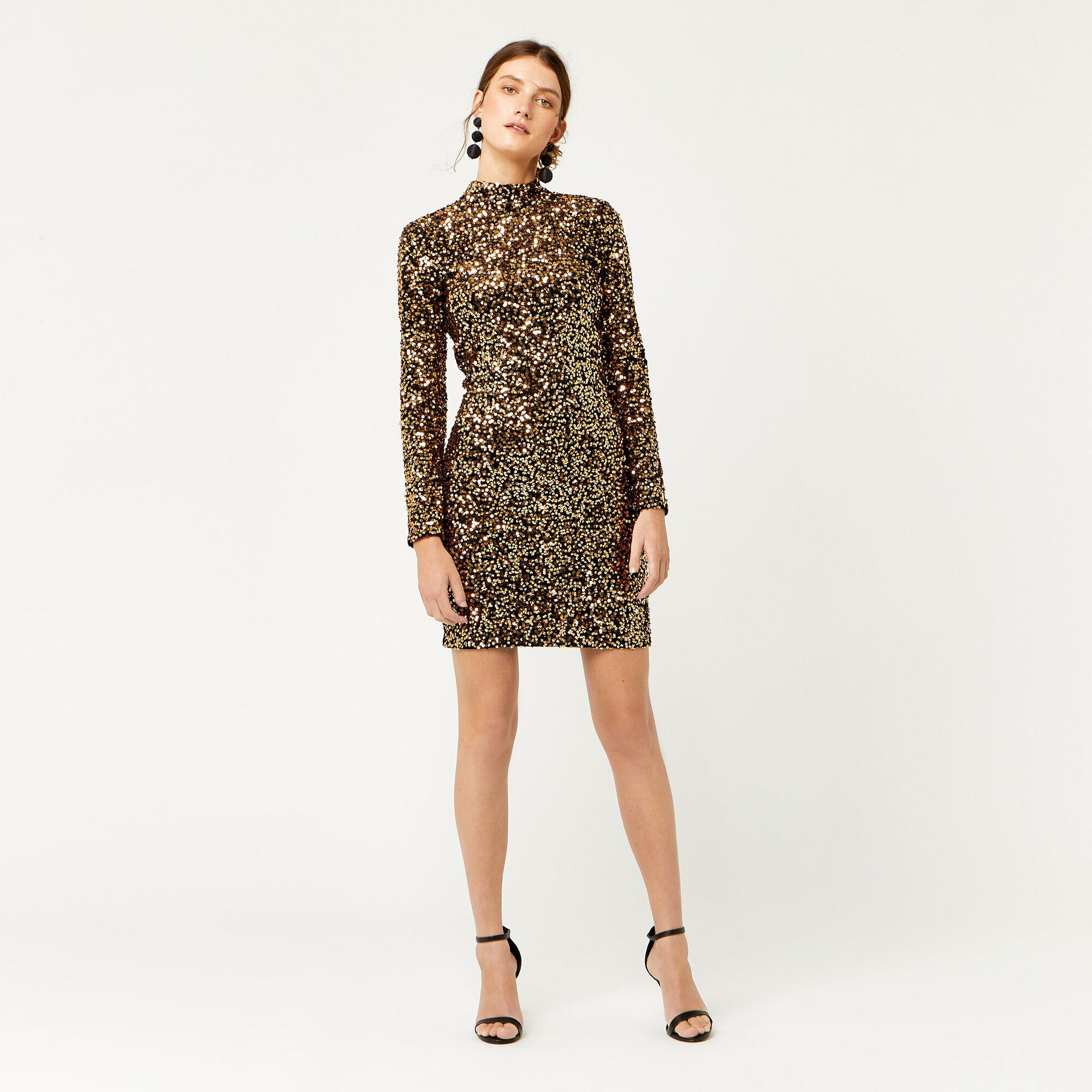 Warehouse, VELVET SEQUIN HIGH NECK DRESS Gold Colour 1