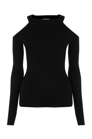 Warehouse, RIBBED COLD SHOULDER JUMPER Black 0