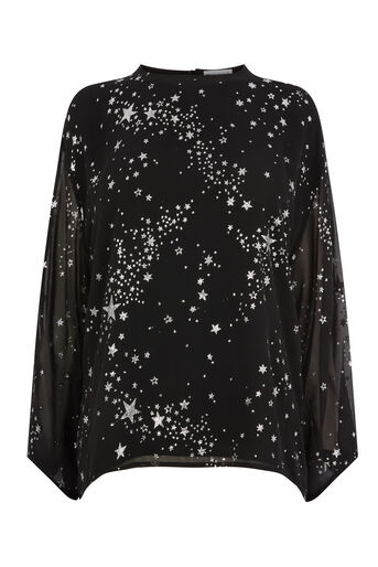 Warehouse, SPARKLE STAR TOP Black Pattern 0