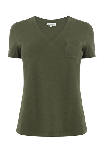 Warehouse, V NECK SLUB TEE Khaki 0