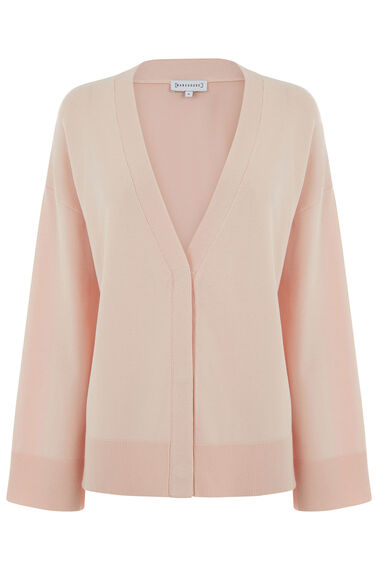 Warehouse, SPLIT CUFF POPPER CARDI Light Pink 0