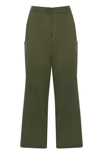 Warehouse, CROPPED WIDE LEG TROUSERS Khaki 0