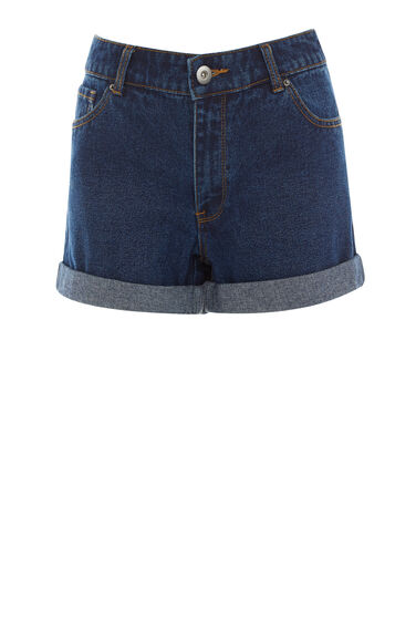 Warehouse, Turn Up Denim Shorts Dark Wash Denim 0