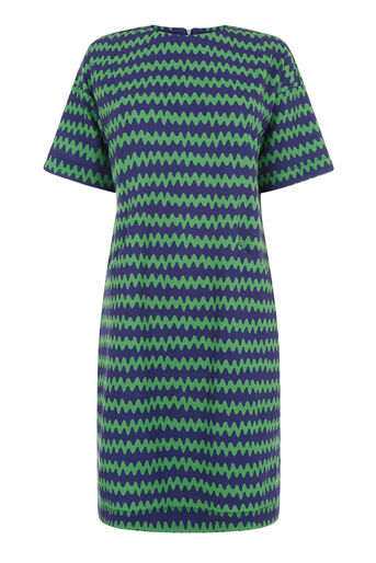 Warehouse, ZIG ZAG CREPE POCKET DRESS Green Print 0