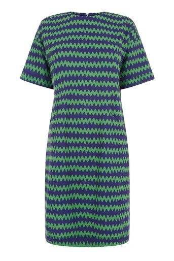 Warehouse, ZIG ZAG CREPE POCKET DRESS Green Print 0