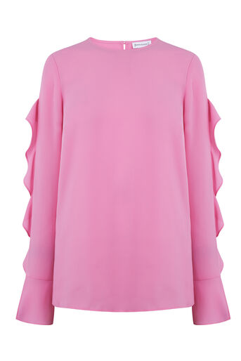 Warehouse, RUFFLE LONG SLEEVE TOP Bright Pink 0