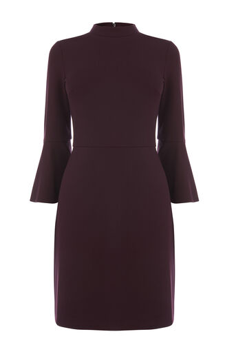Warehouse, HIGH NECK PONTE DRESS Dark Red 0