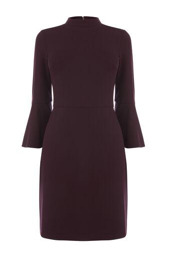 Warehouse, HIGH NECK PONTE DRESS Dark Red 0