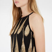 Warehouse, Feather Jacquard Top Gold Colour 4