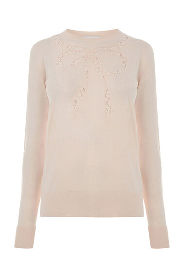 Warehouse, LACE BOW CREW JUMPER Ecru 0
