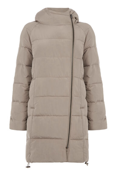 Warehouse, Hooded Padded Coat Stone 0