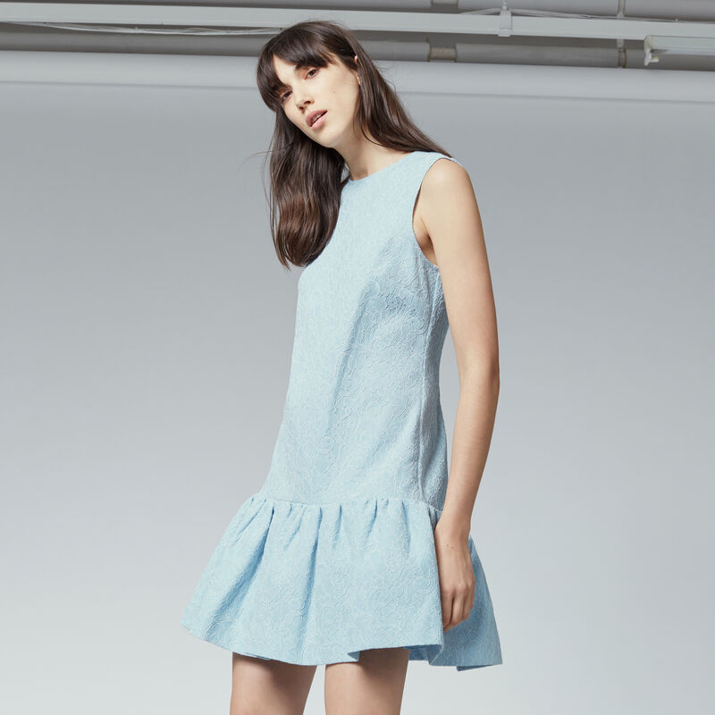 Warehouse, BONDED LACE PEPLUM DRESS Light Blue 1