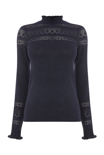 Warehouse, SPARKLE POINTELLE JUMPER Navy 0