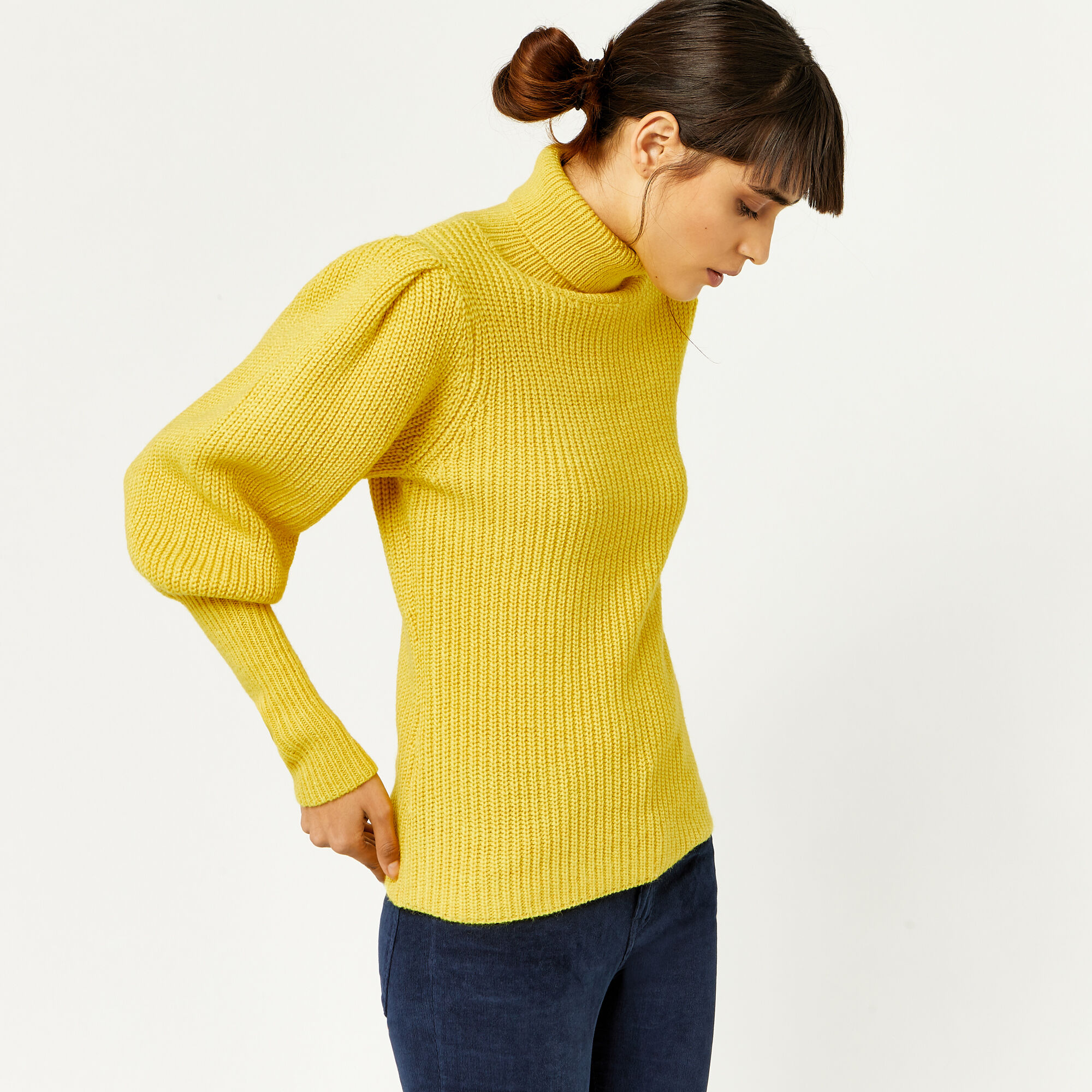 Warehouse, RIBBED PUFF SLEEVE JUMPER Yellow 1