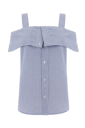 Warehouse, BUTTON THROUGH STRIPE CAMI Blue Stripe 0