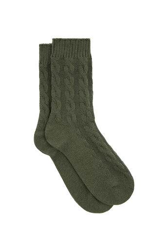 Warehouse, CABLE KNIT SOCK Khaki 0