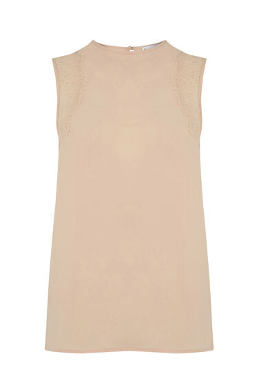 Warehouse, SLEEVELESS LACE DETAIL TOP Light Pink 0