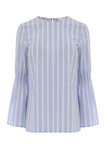 Warehouse, STRIPE FLARED CUFF TOP Blue Stripe 0