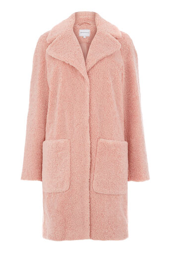 Warehouse, Teddy Faux Fur Coat Light Pink 0