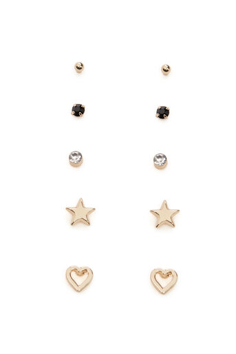 Warehouse, HEART 5 EARRING PACK Gold Colour 0