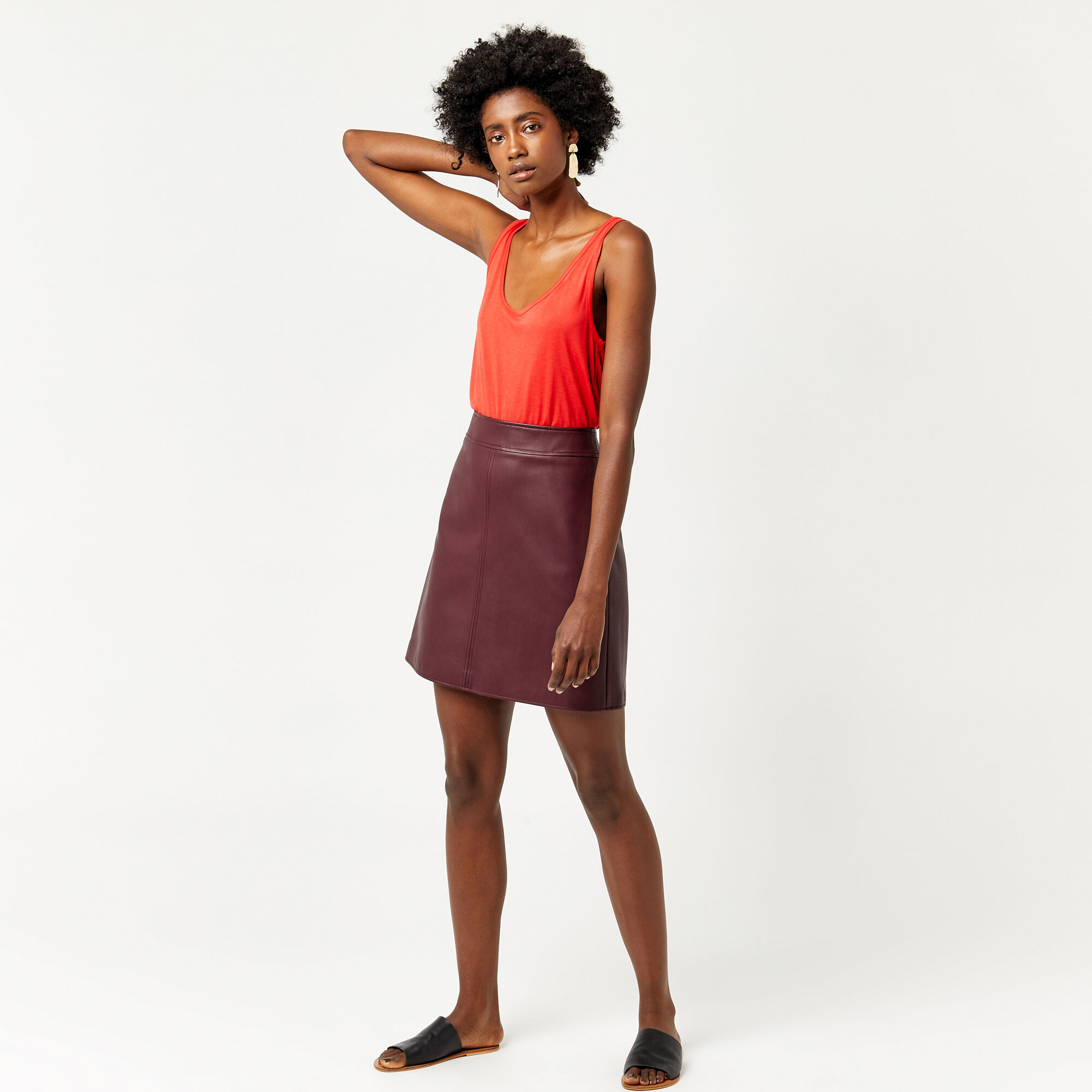 Warehouse, Faux Leather A Line Skirt Dark Red 1