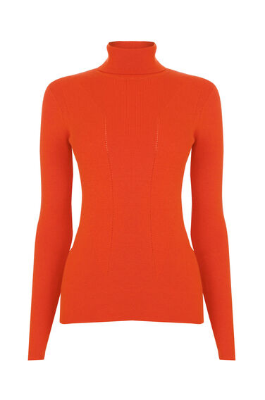 Warehouse, FASHIONED POLO NECK JUMPER Orange 0