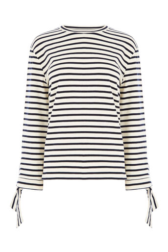 Warehouse, TIE CUFF STRIPE TOP Blue Stripe 0