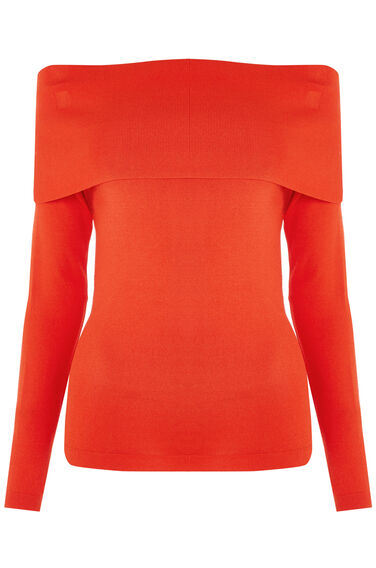 Warehouse, DEEP BARDOT JUMPER Bright Red 0