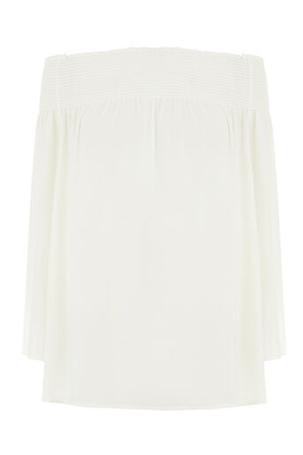 Warehouse, SMOCKED BARDOT TOP Cream 0