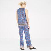 Warehouse, TILE PRINT TROUSERS Blue Pattern 3