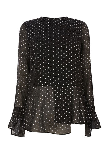 Warehouse, FOIL SPOT PEPLUM HEM TOP Black Pattern 0