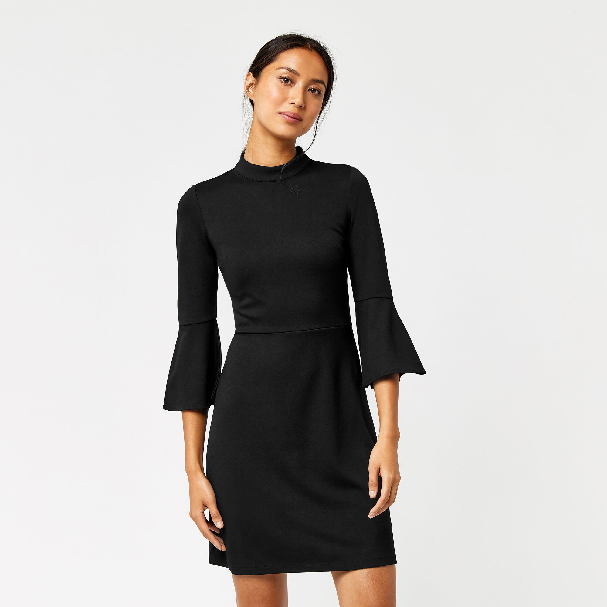Warehouse, Ponte jurk met hoge hals Zwart 1