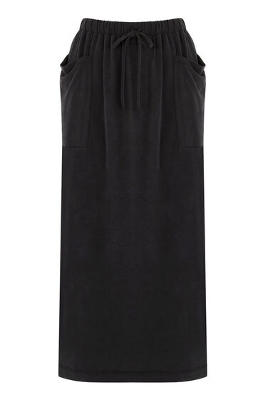 Warehouse, PREMIUM FABRIC TIE WAIST MIDI Dark Grey 0