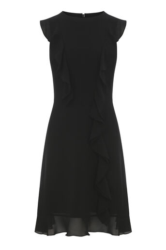 Warehouse, FRILL SLEEVELESS MINI DRESS Black 0