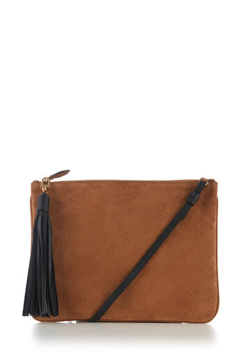 Warehouse, SUEDE TASSEL CROSSBODY BAG Tan 0