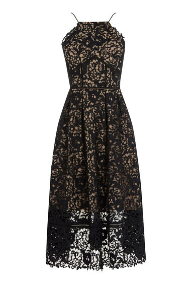 Warehouse, LACE HALTER DRESS Black 0