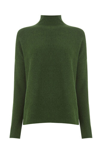 Warehouse, BOXY FUNNEL RIB JUMPER Dark Green 0