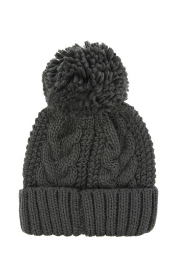 Warehouse, CABLE KNIT HAT Dark Grey 0
