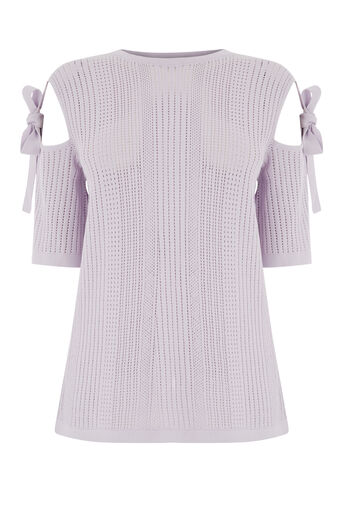 Warehouse, POINTELLE TIE SHOULDER TOP Lilac 0