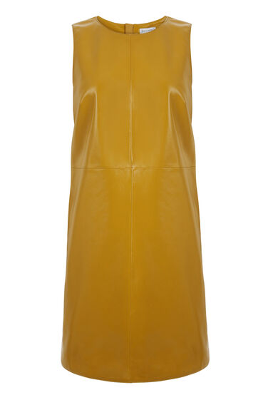 Warehouse, Patent Leather Shift Dress Mustard 0