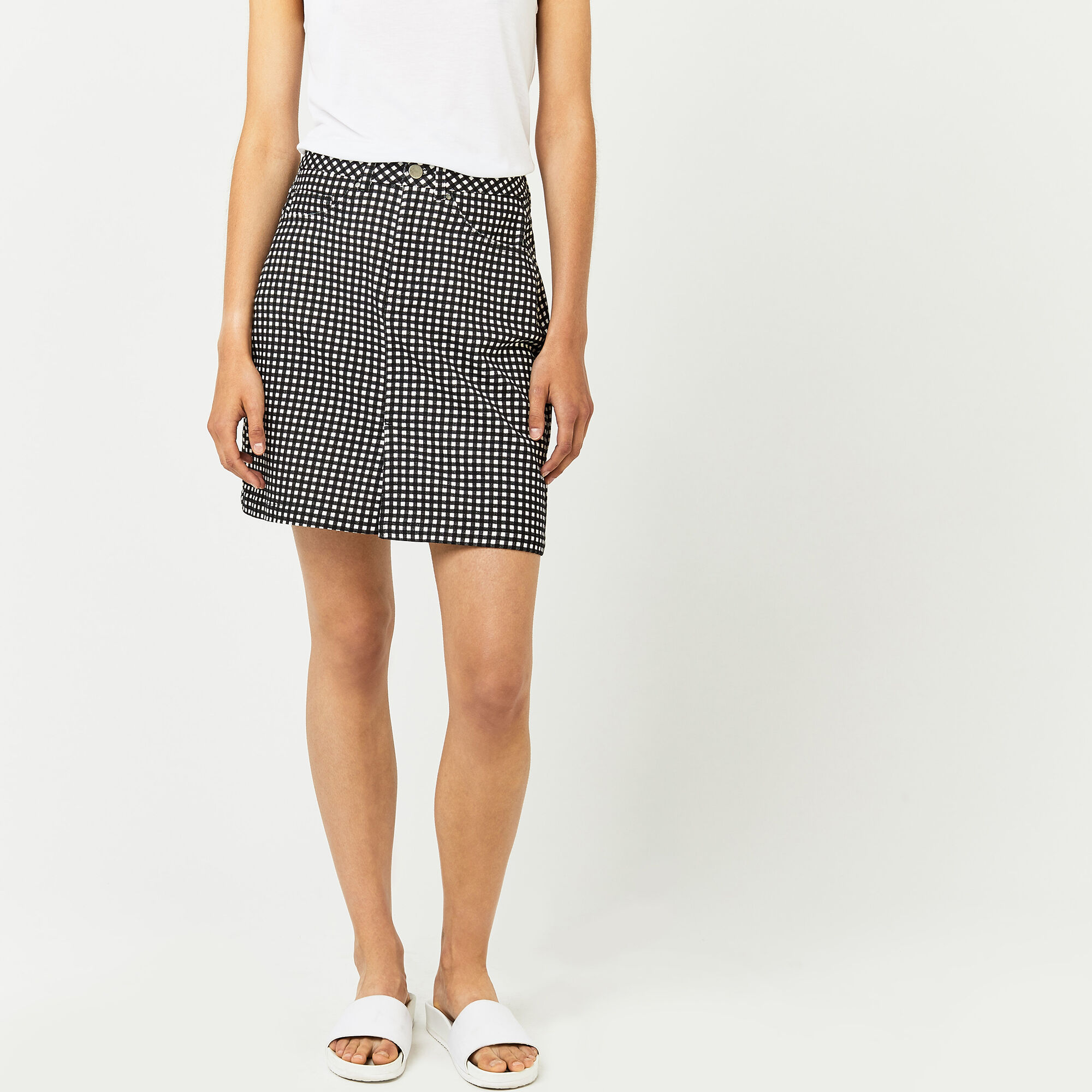 Warehouse, GINGHAM SKIRT Black Pattern 1
